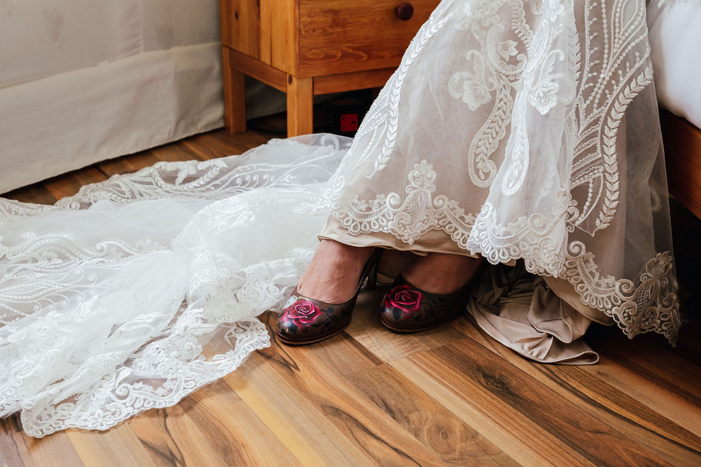 elegant lace wedding dress with handpainted wedding shoes - alternative bridal wear - unique wedding wear