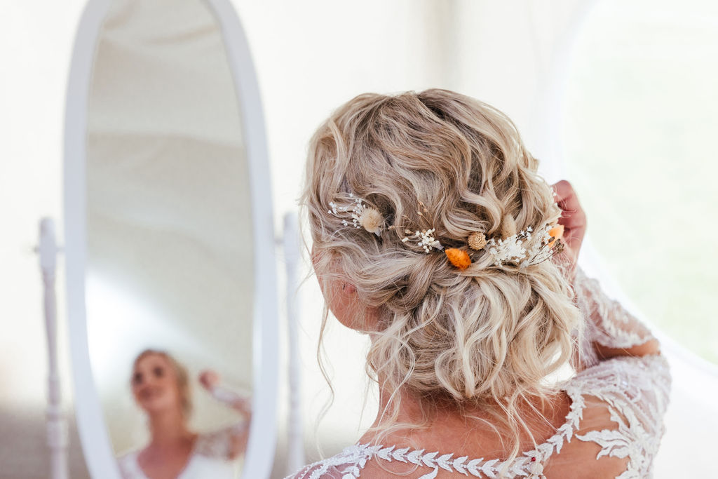bohemian wedding updo - bohemian bridal hair - boho updo - boho wedding hair with flowers