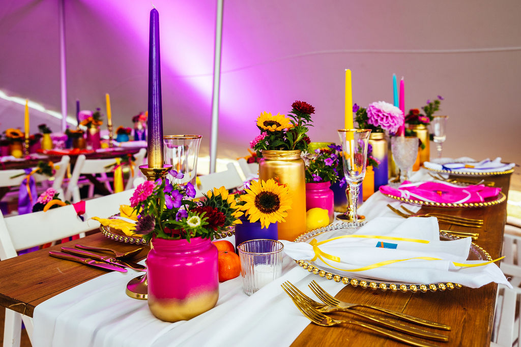 bright festival wedding - colourful wedding - festival wedding table decoration - marquee wedding styling - colourful boho wedding styling
