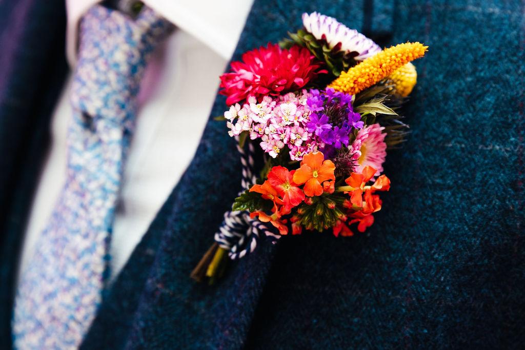 colourful wedding buttonhole - colourful wedding flowers - boho wedding flowers - unique wedding buttonhole