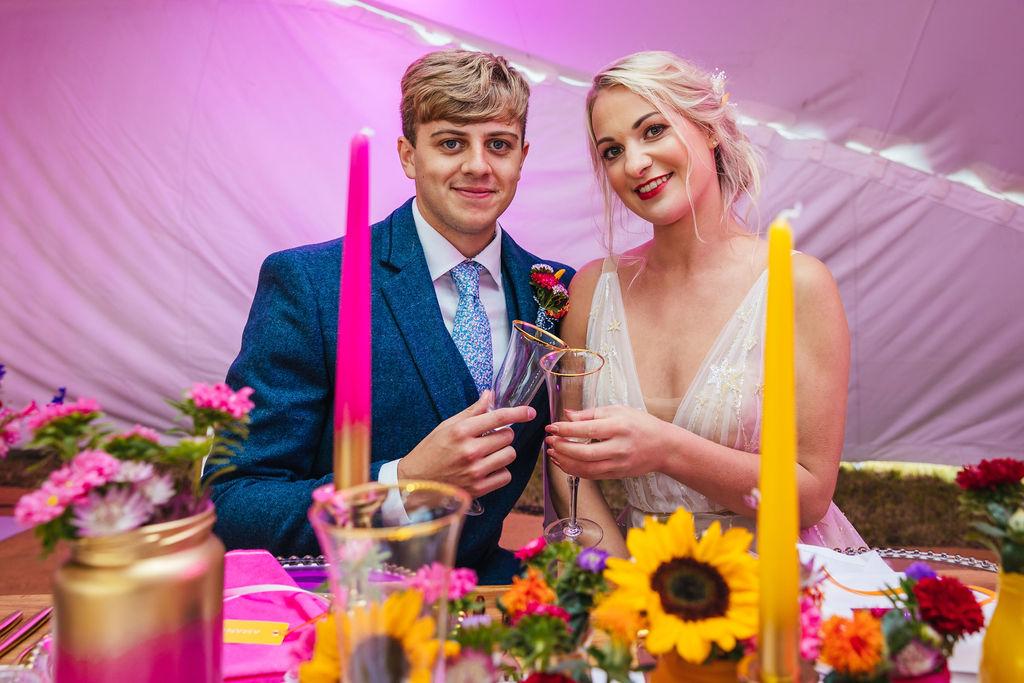 bright festival wedding - colourful wedding - rainbow wedding - marquee wedding