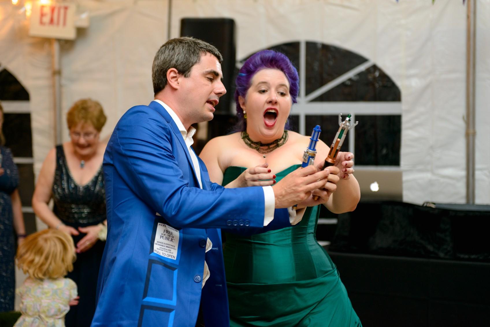 dr who wedding - tardis suit - wedding sonic screwdrivers - fun wedding ideas