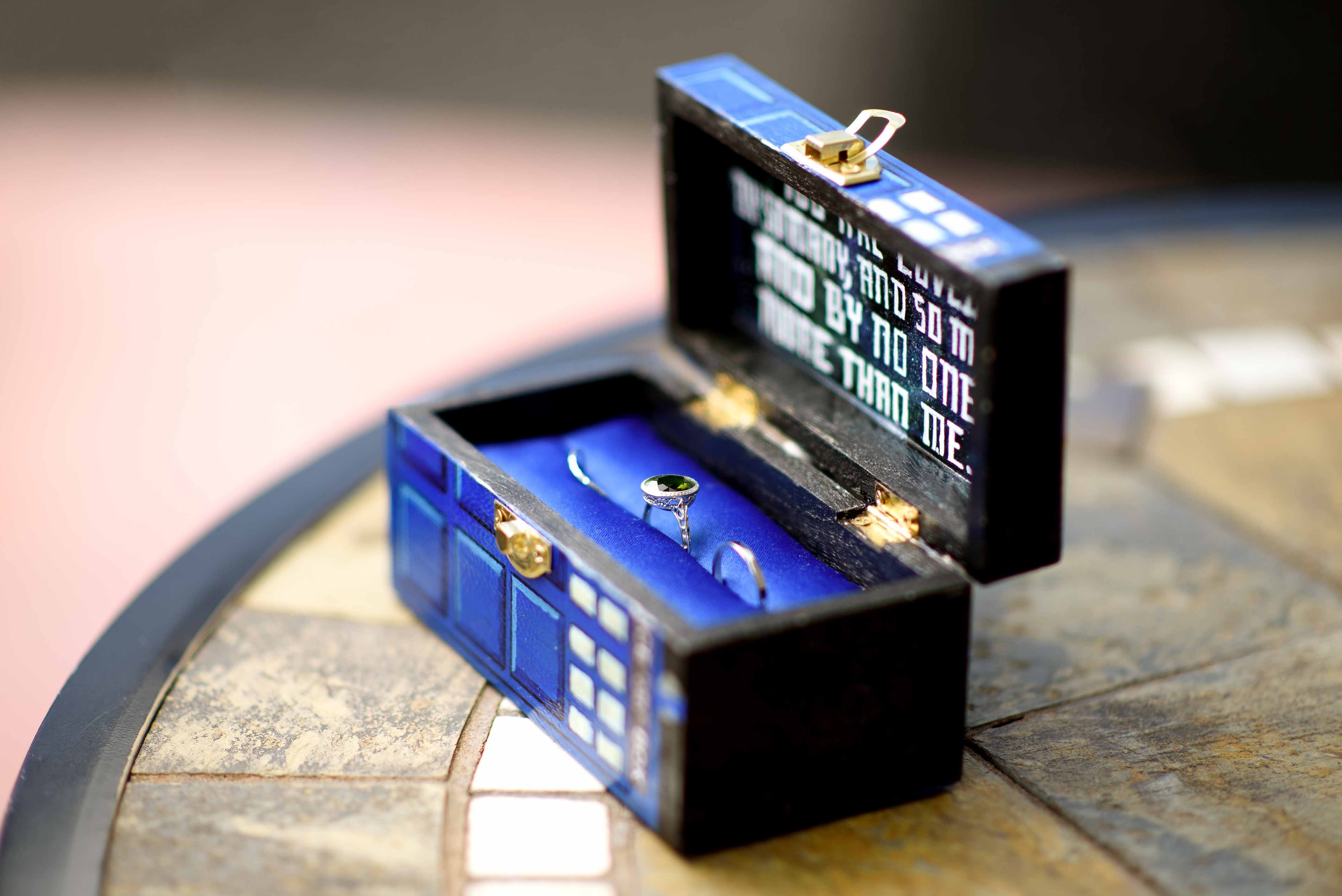 dr who ring box - tardis ring box - dr who wedding ideas - unconventional wedding