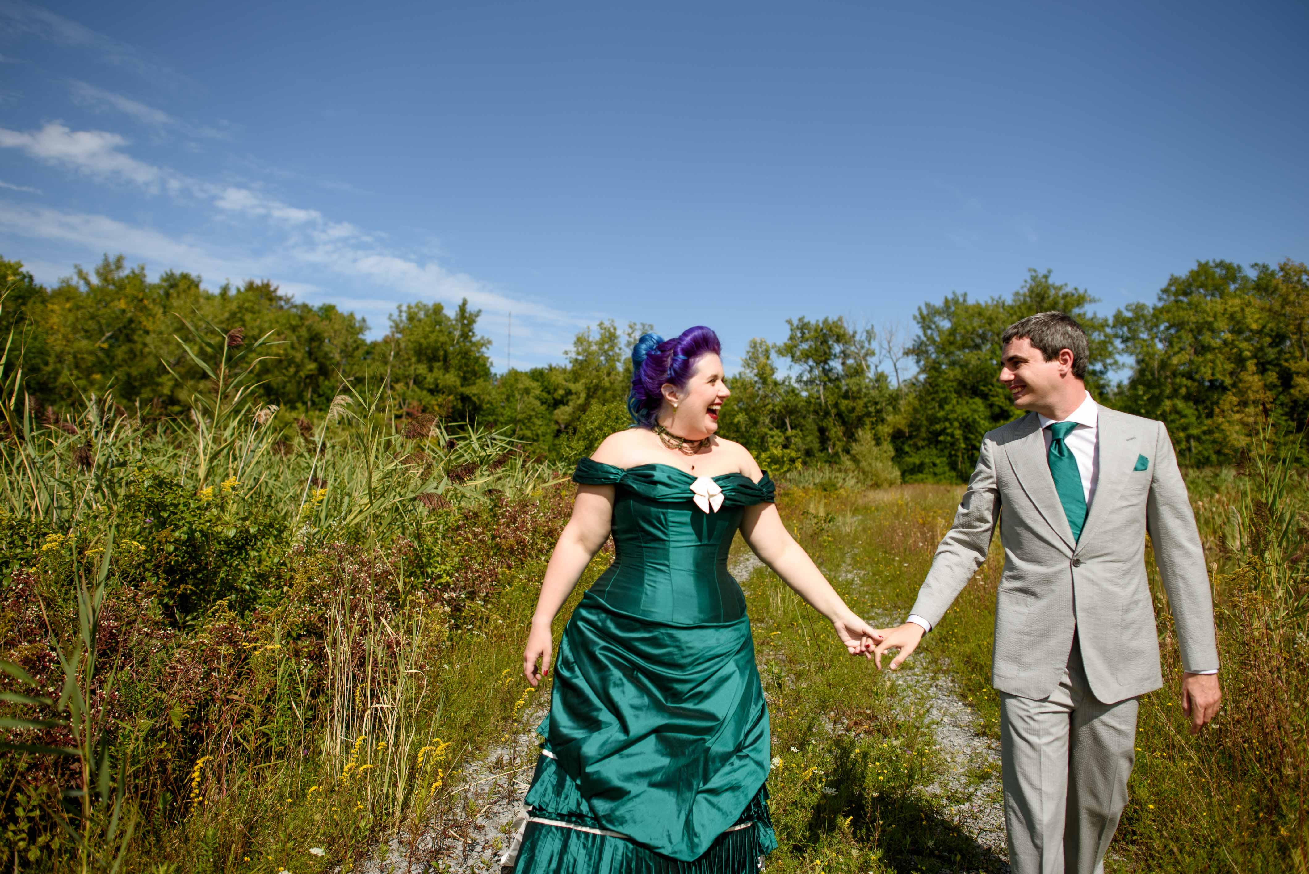 fun wedding photos - victorian wedding dress - coloured wedding dress - green wedding dress - alternative bridalwear