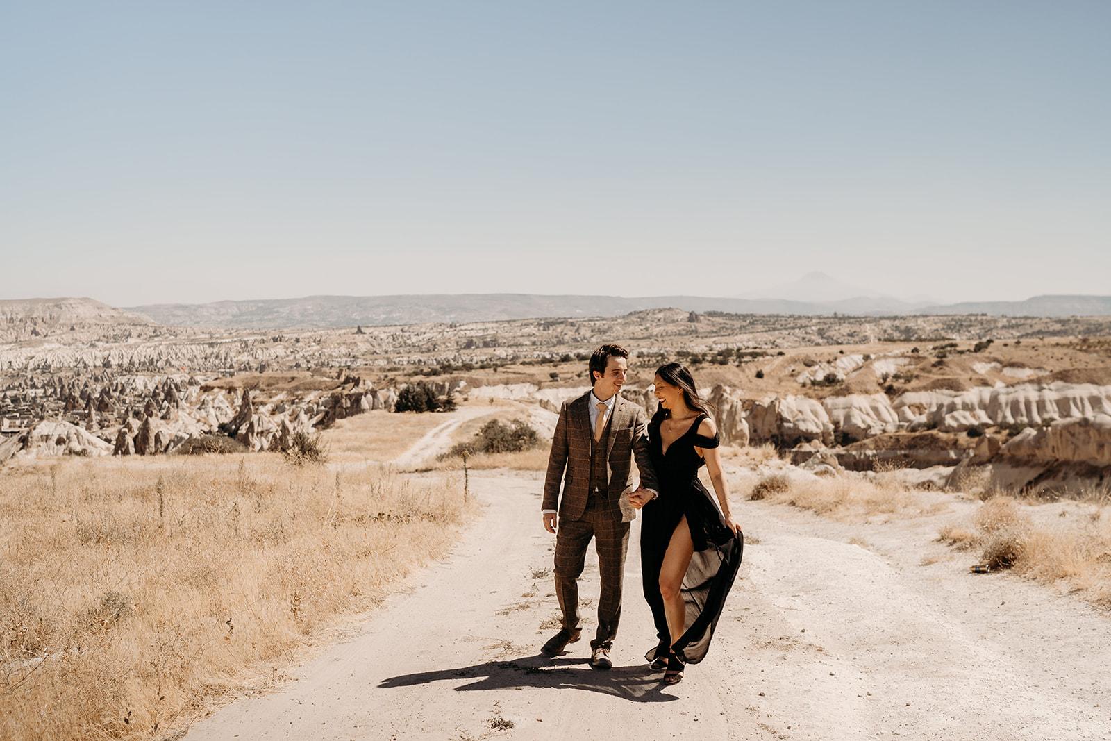 Cappadocia wedding - beautiful elopement photography - Turkish elopement photoshoot - black wedding dress