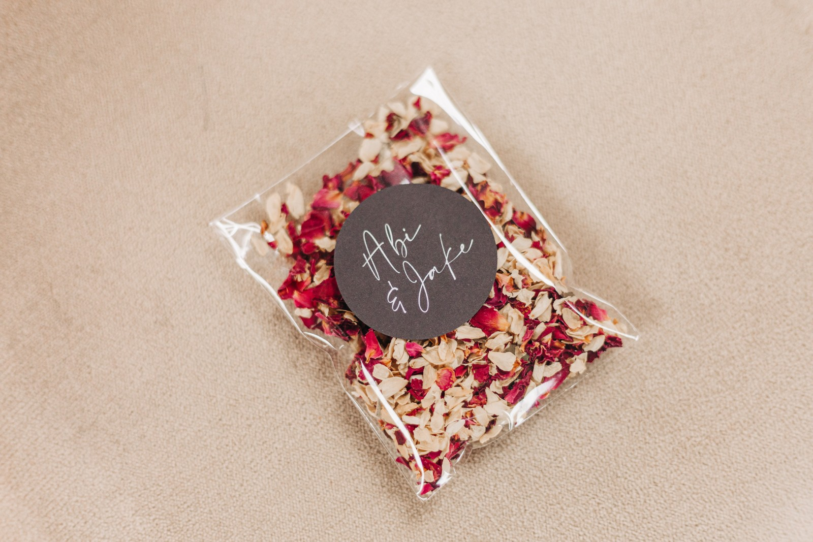 dried flower wedding confetti with personalised label