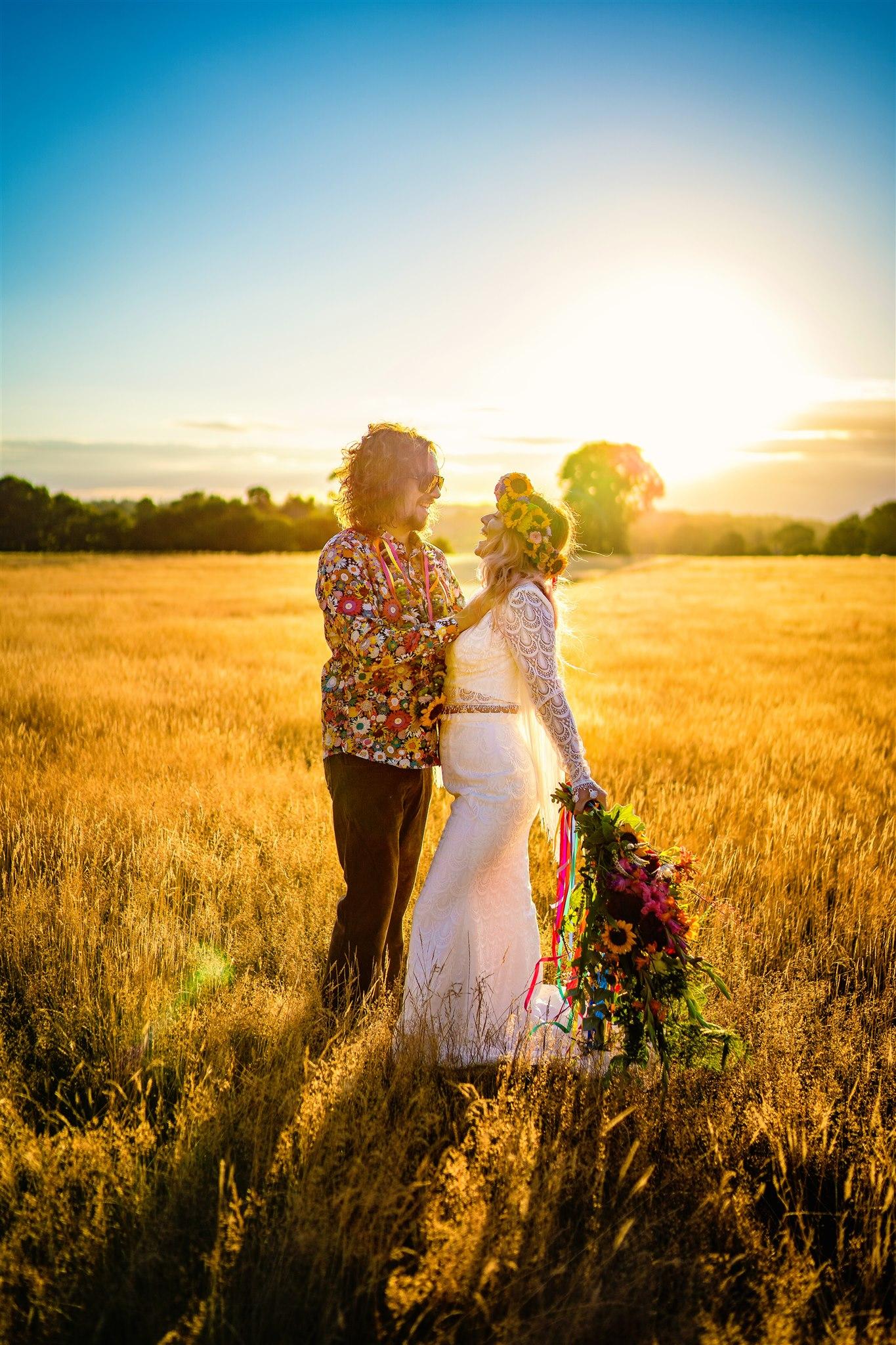 colourful bohemian wedding - 70s wedding - campervan wedding - hippie wedding - outdoor elopement - boho elopement