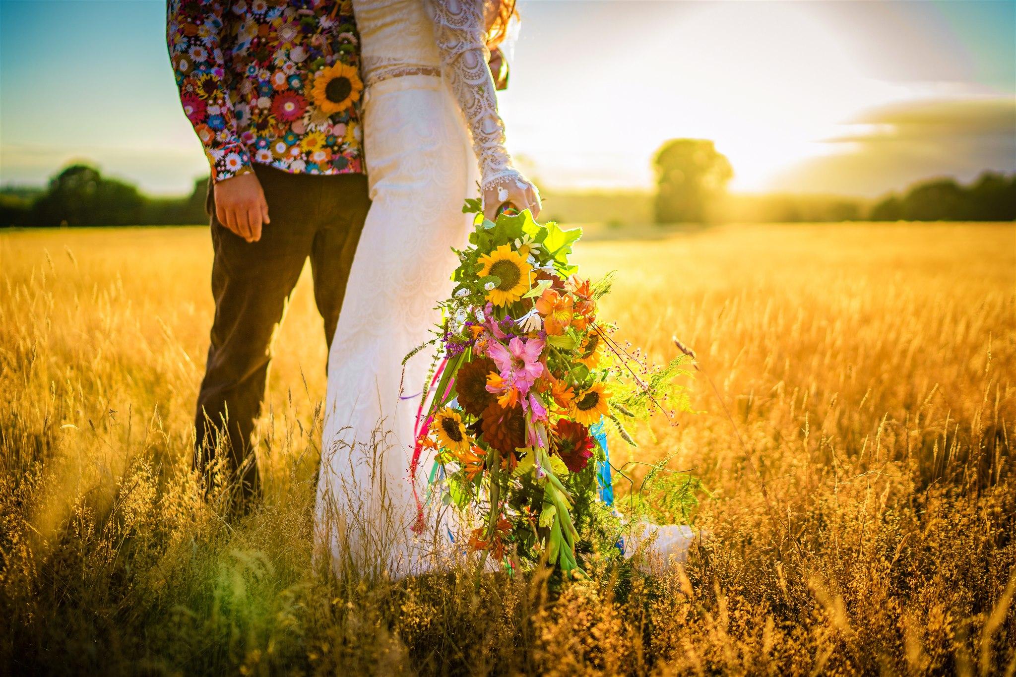 quirky wedding flowers - colourful wedding flowers - colourful bohemian wedding - 70s wedding - campervan wedding - hippie wedding