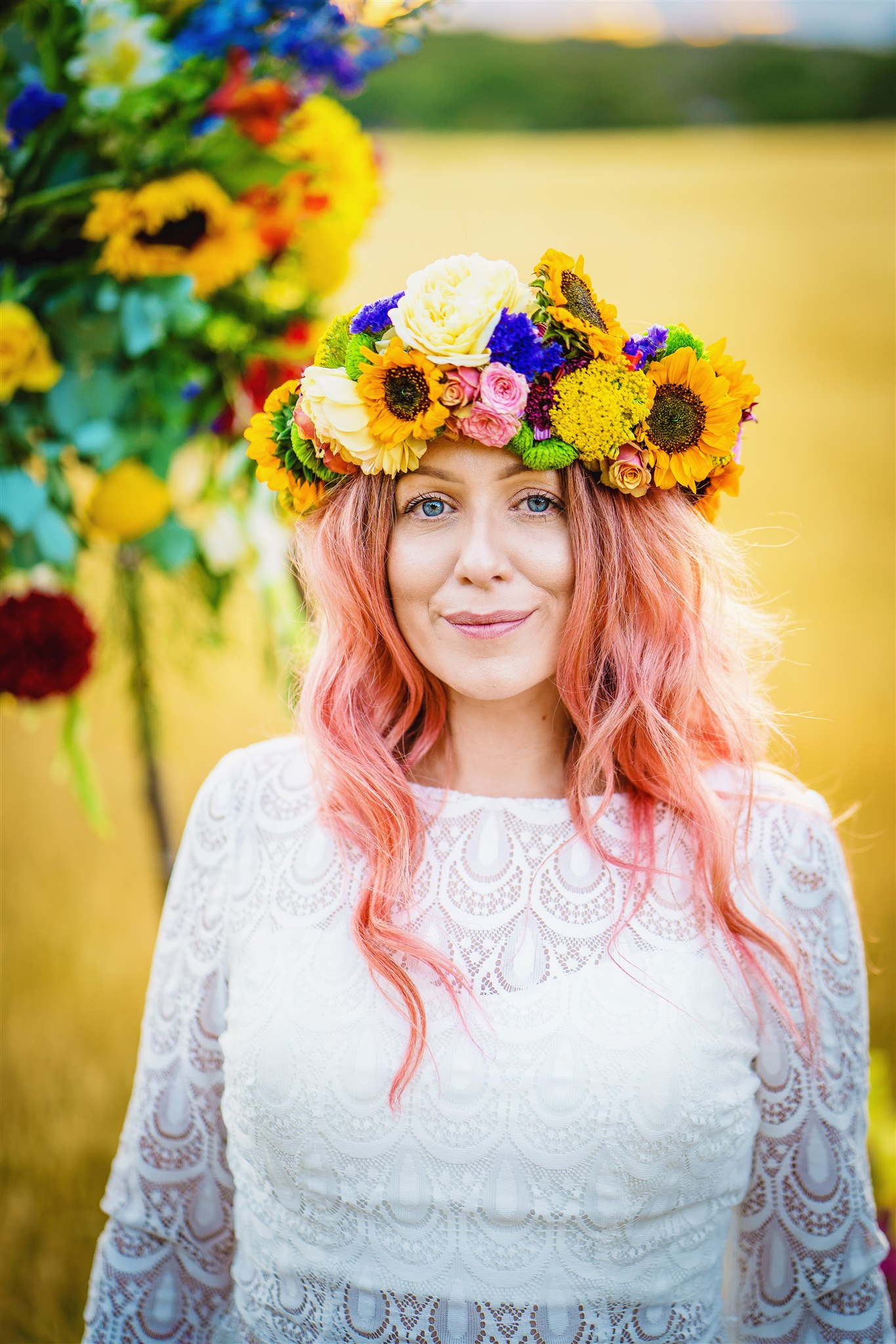 colourful bridal flower crown - colourful bohemian wedding - boho wedding - alternative wedding