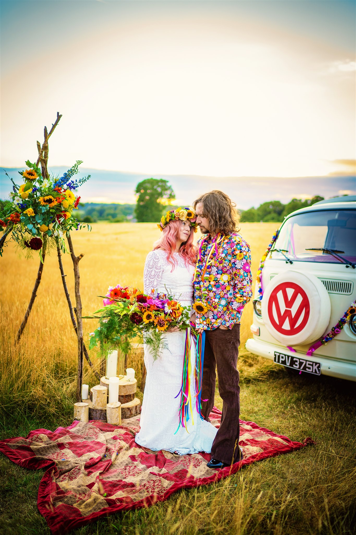 colourful bohemian wedding - 70s wedding - campervan wedding - hippie wedding - alternative wedding inspiration