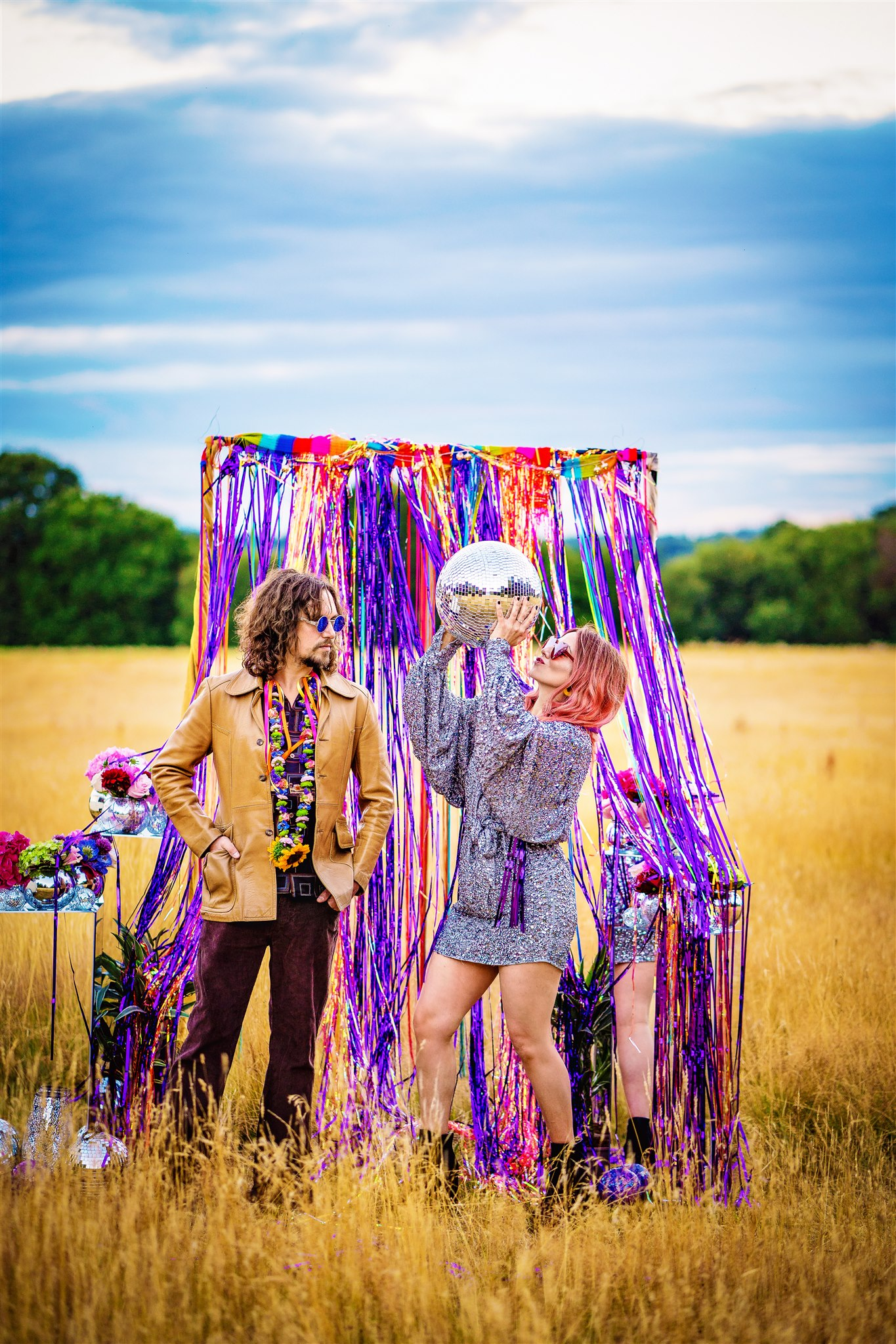 colourful bohemian wedding - 70s wedding - hippie wedding - retro wedding