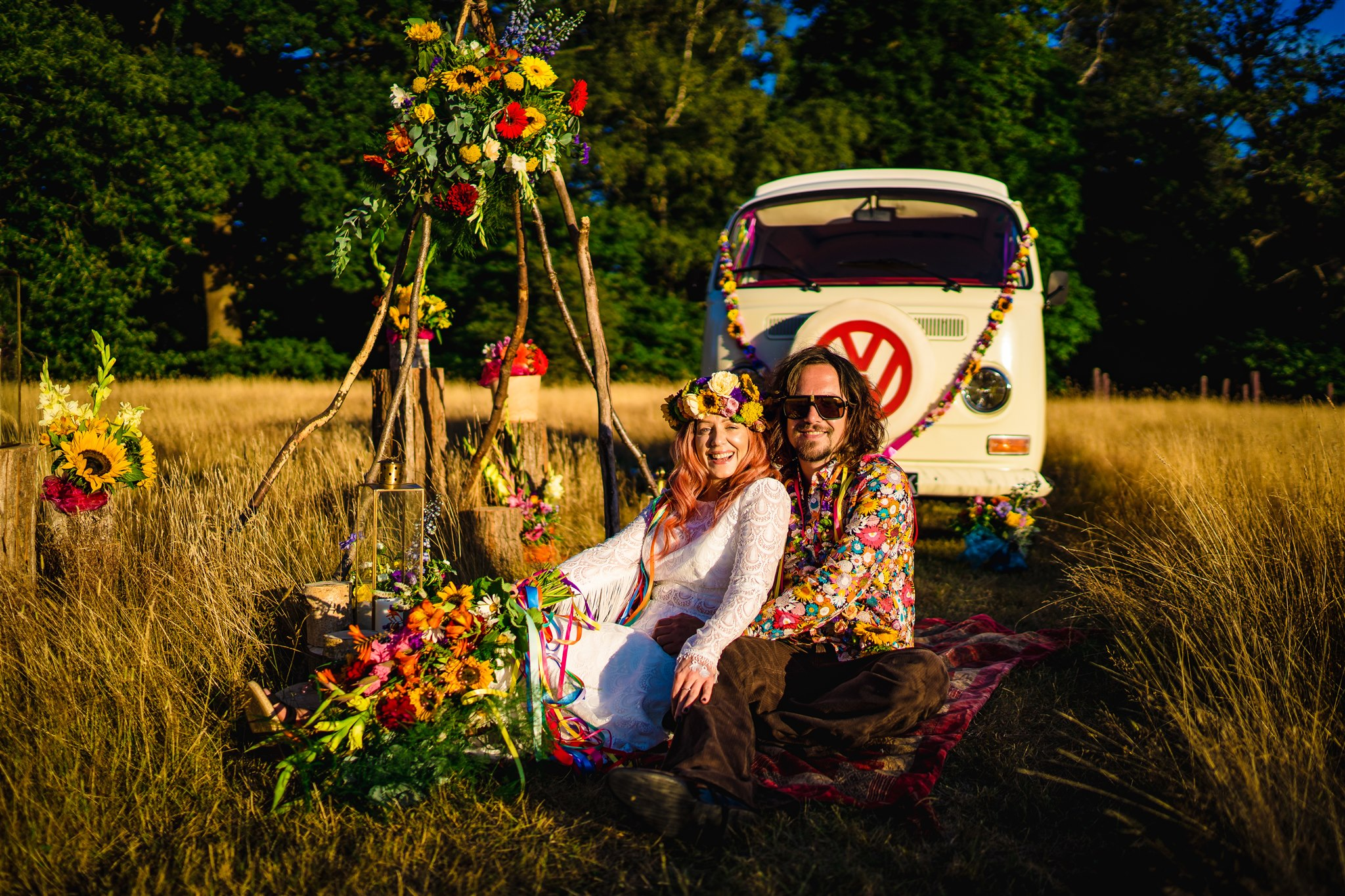 colourful bohemian wedding - 70s wedding - campervan wedding - hippie wedding - rainbow wedding