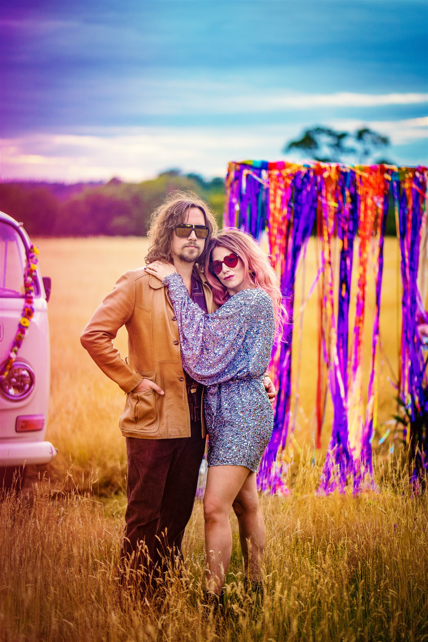 funky elopement photoshoot - colourful bohemian wedding - 70s wedding - campervan wedding - hippie wedding