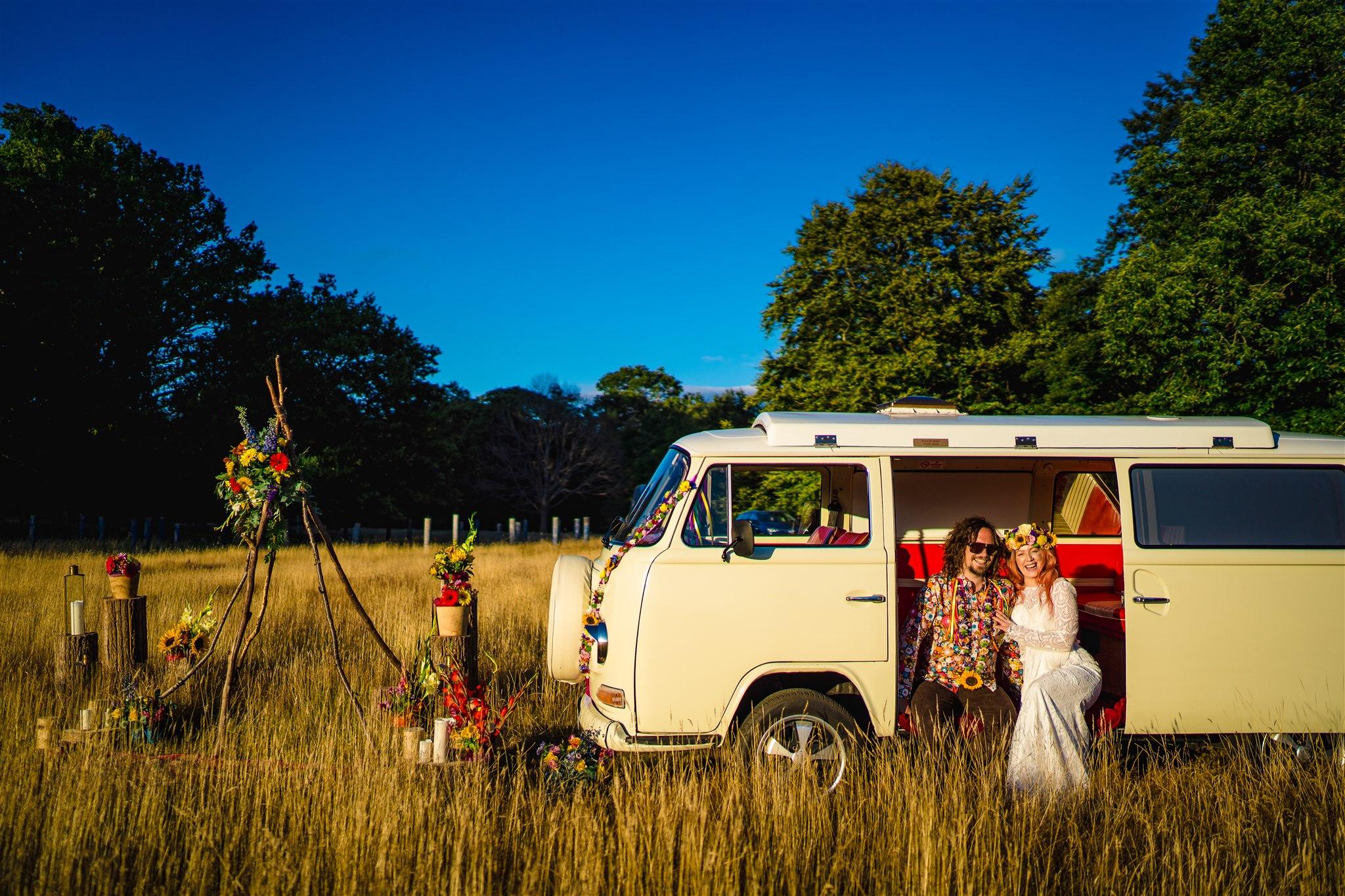 wedding camper van - camper van photo booth - colourful bohemian wedding - 70s wedding - campervan wedding - hippie wedding