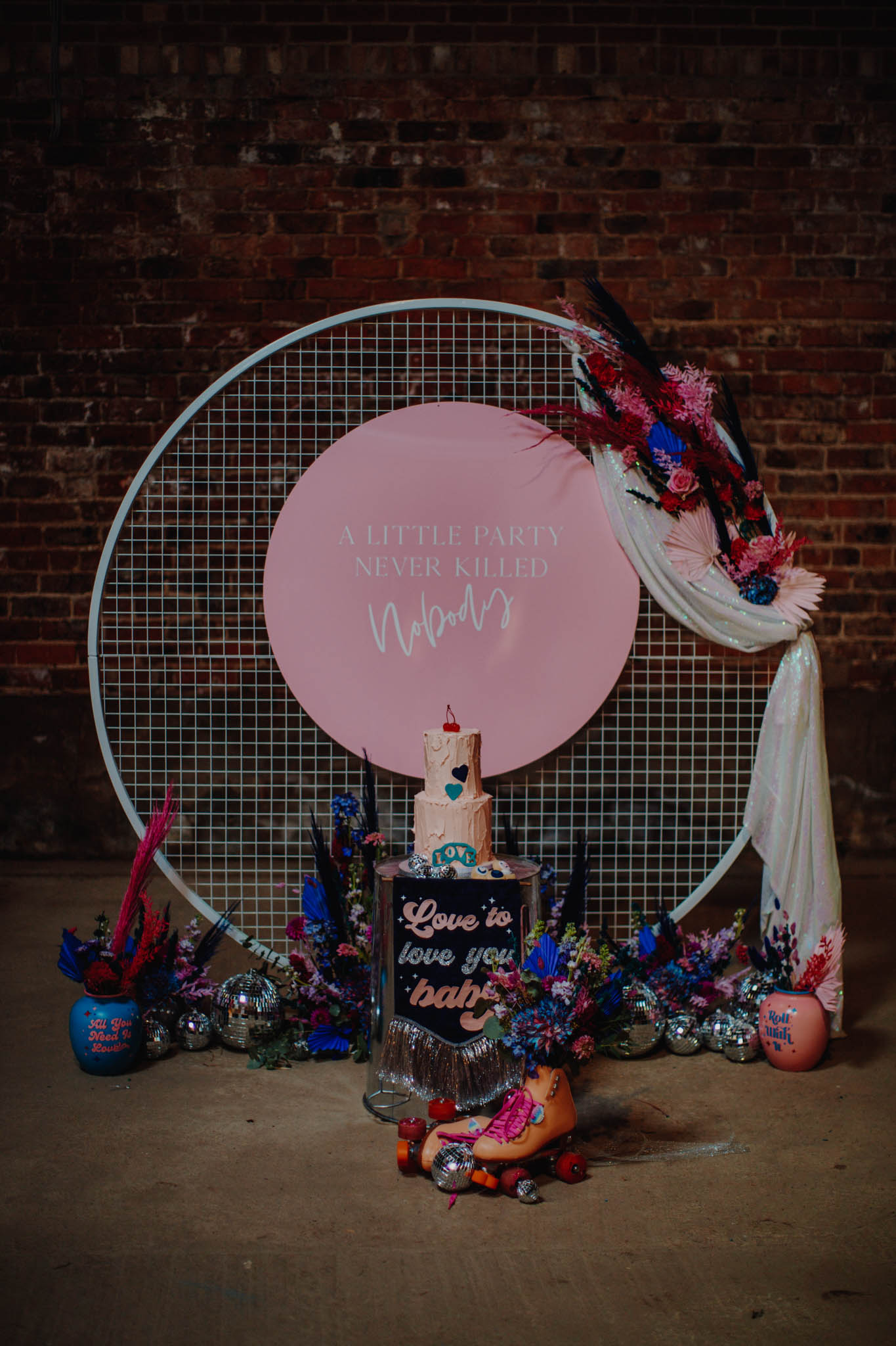 roller disco wedding - alternative wedding - unconventional wedding - alternative wedding styling