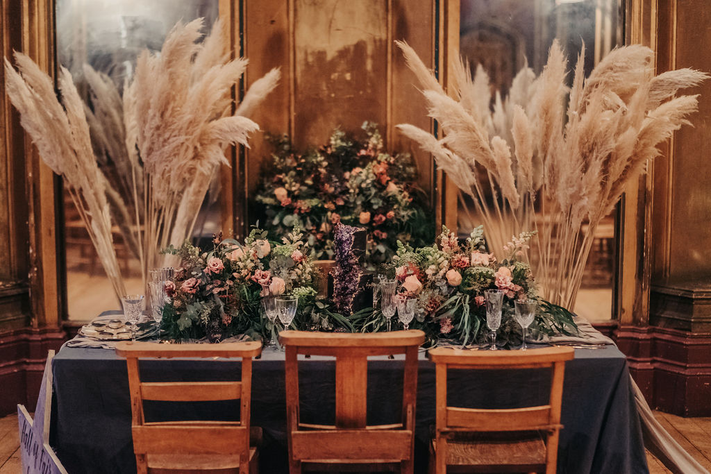 wedding pampas grass and unique wedding flowers