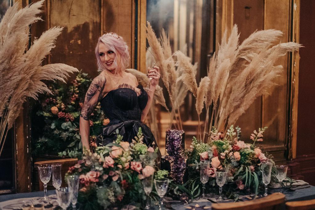 gothic celestial wedding - creative wedding styling - wedding pampas grass