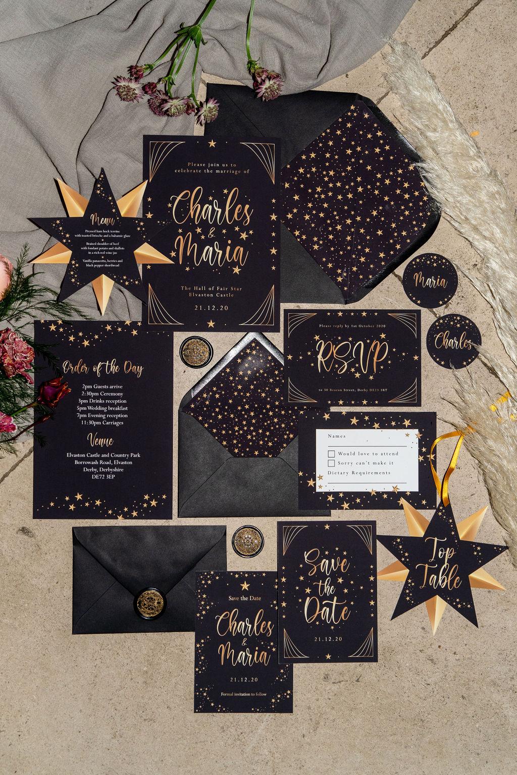 celestial gothic wedding - gothic wedding stationery - celestial gothic wedding stationery - unique wedding stationery - alternative wedding stationery - unconventional wedding