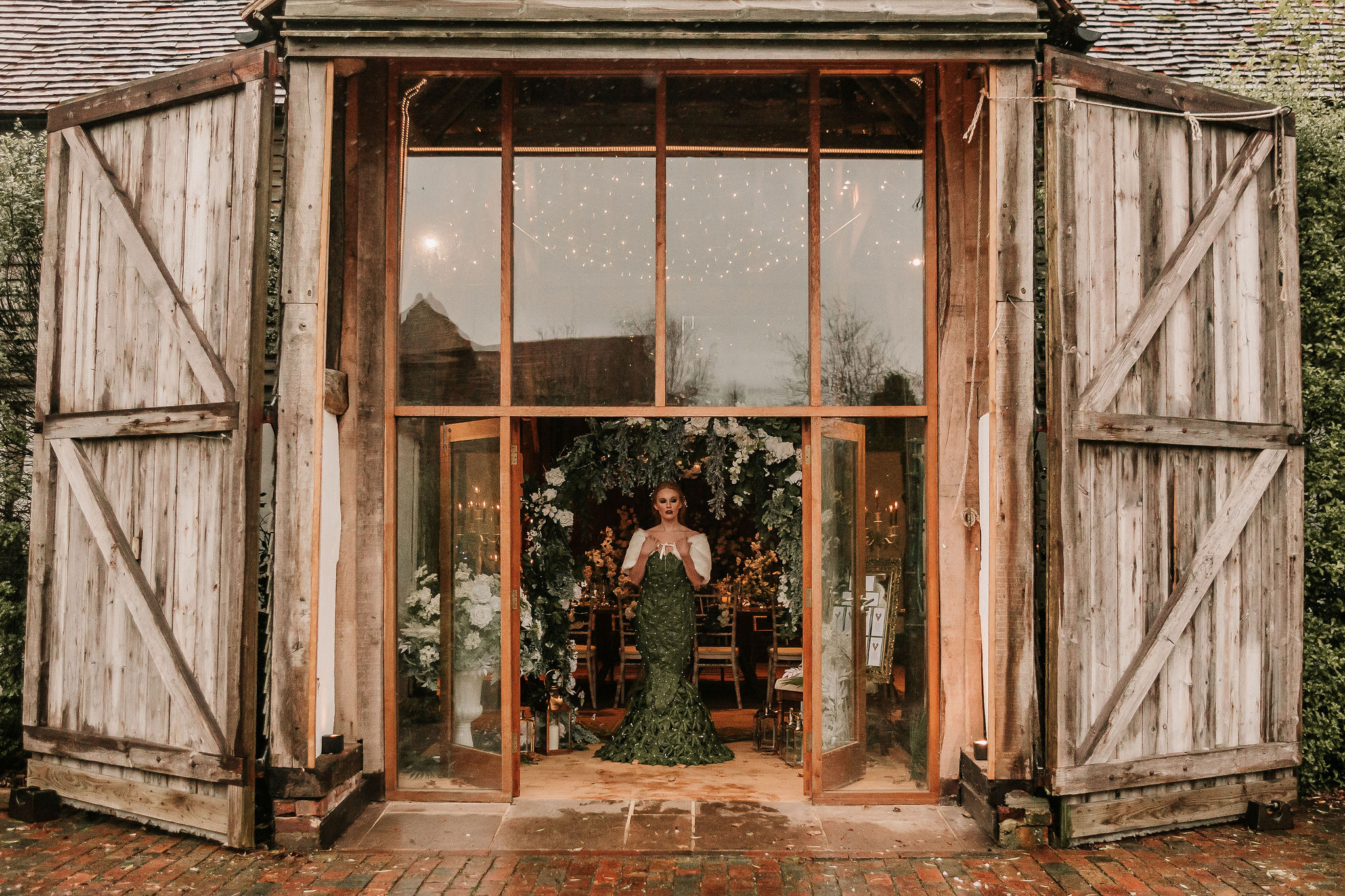winter wedding inspiration - unique wedding dress and barn wedding venue