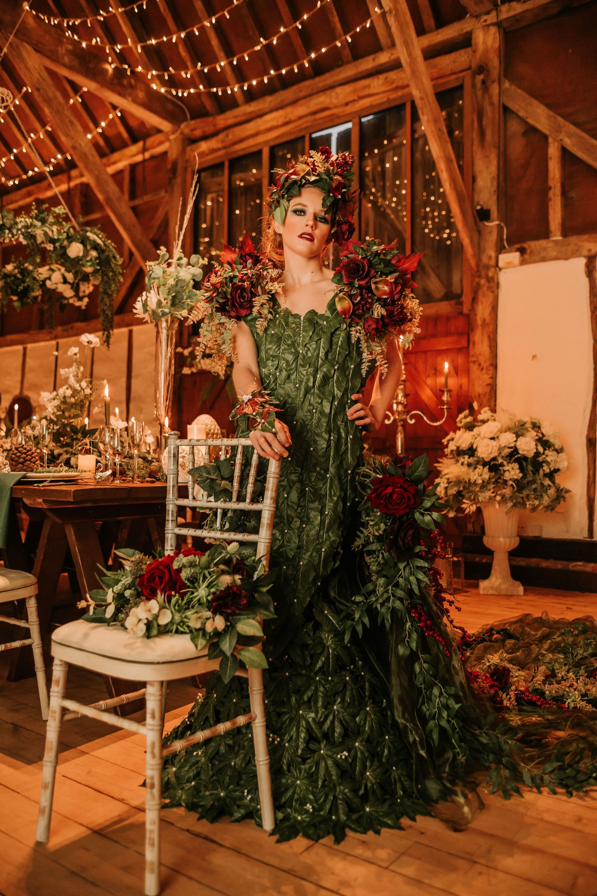 enchanting winter wedding - artistic bridal photoshoot - extravagant bridal look - alternative bridalwear