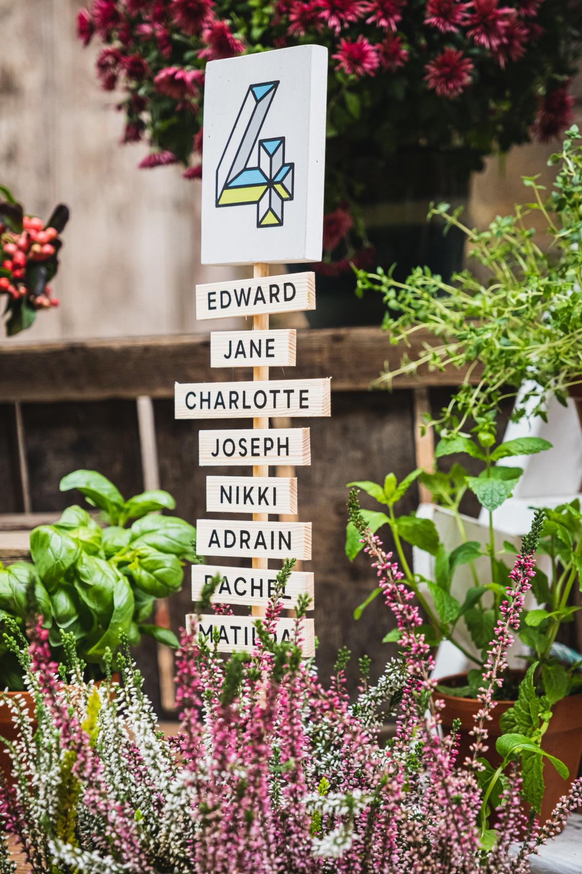 colourful micro wedding at patricks barn -unique wedding seating plan - creative wedding seating plan - colourful wedding - unconventional wedding