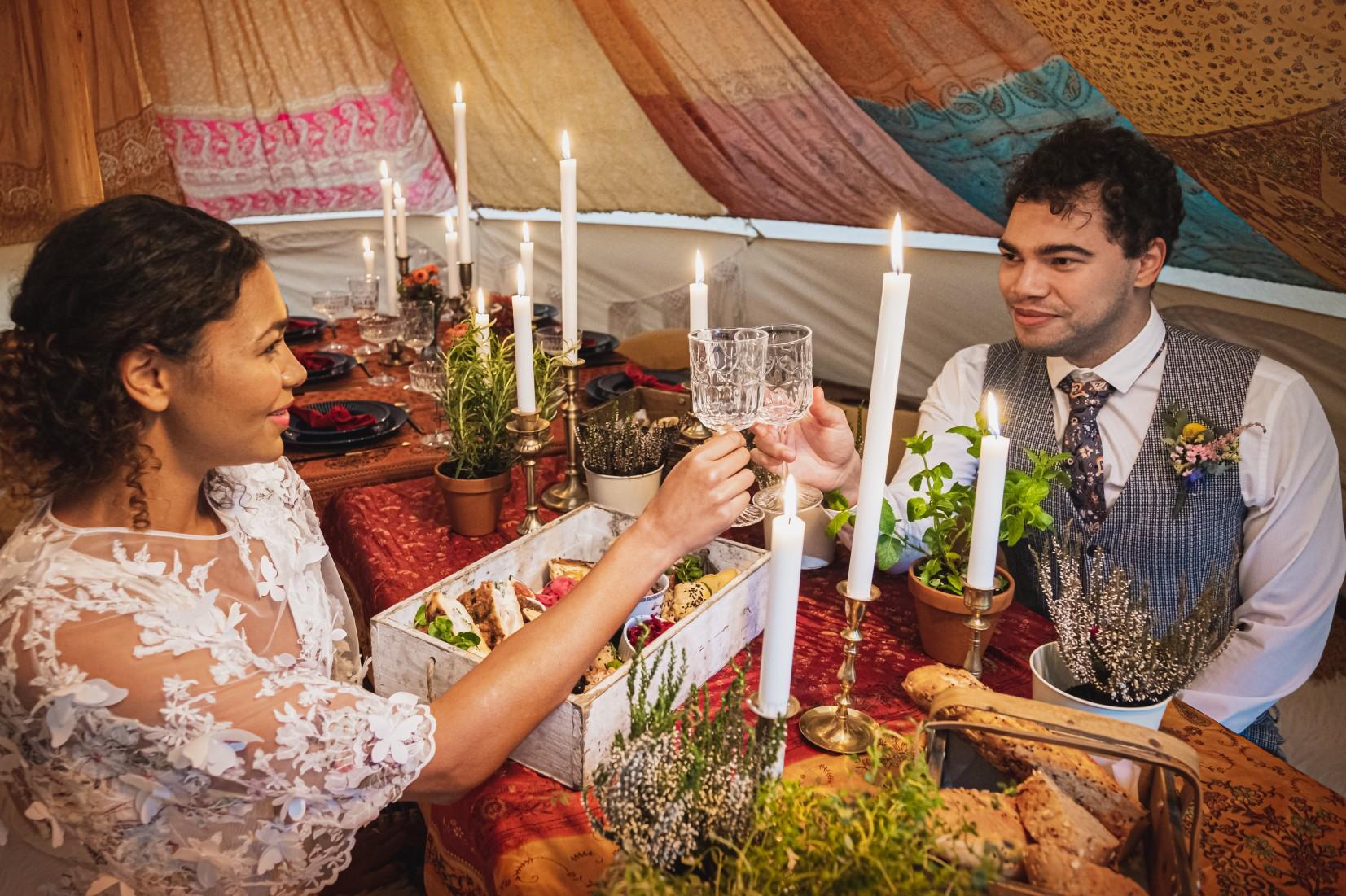 colourful micro wedding at patricks barn - wedding picnic - wedding grazing table - hippie wedding - unconventional wedding