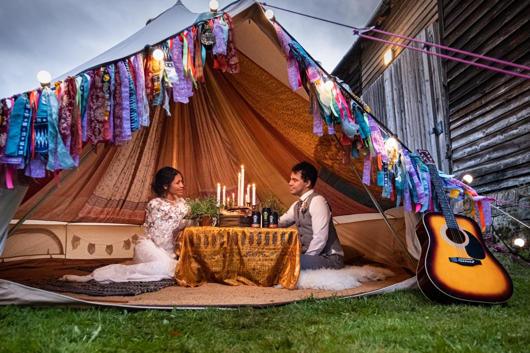 colourful micro wedding at patricks barn - hippie wedding - bell tent wedding - boho wedding - festival wedding