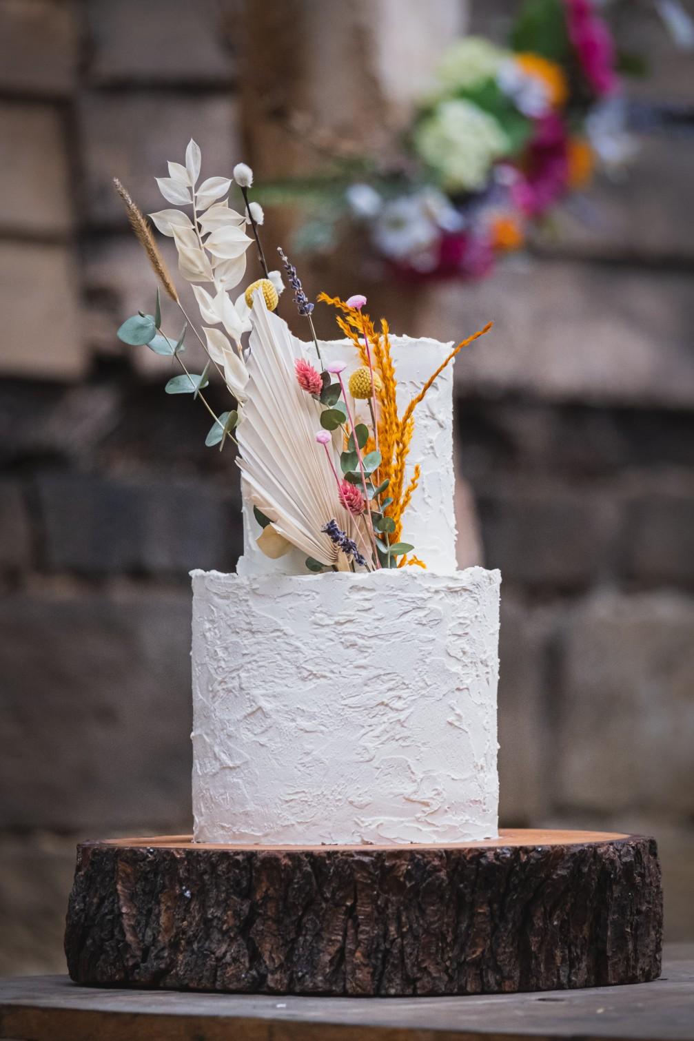 colourful micro wedding at patricks barn - unique wedding cake - boho wedding cake - artistic wedding cake