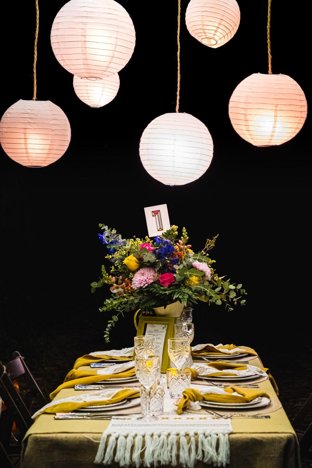 colourful micro wedding at patricks barn - unique wedding lighting - wedding handing lanterns - bohemian wedding