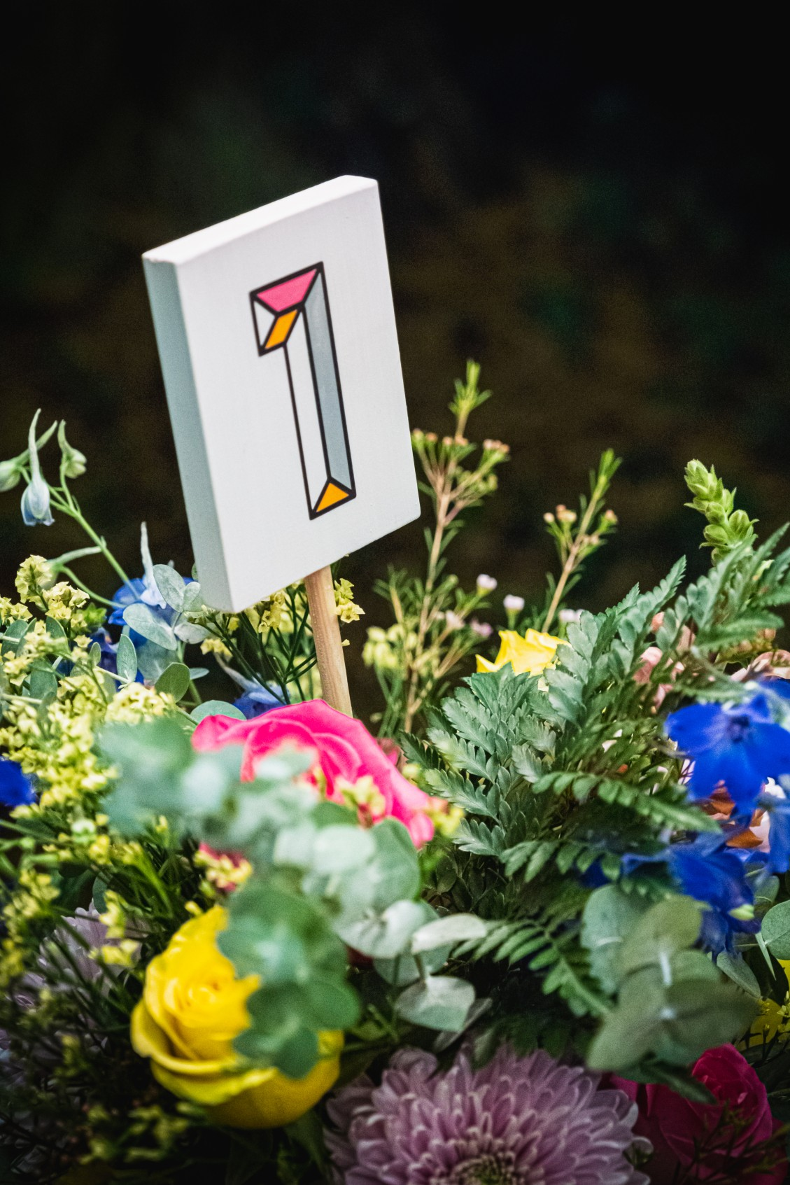 colourful micro wedding at patricks barn - unique wedding stationery - quirky wedding stationery - wedding table numbers - unconventional wedding