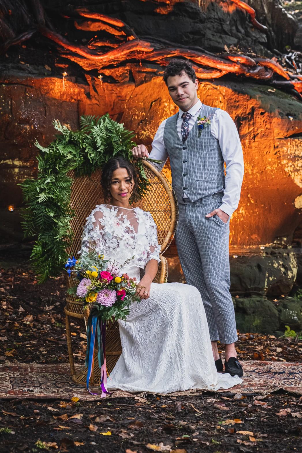 colourful micro wedding at patricks barn - unique wedding venue - boho wedding - sussex wedding - unconventional wedding