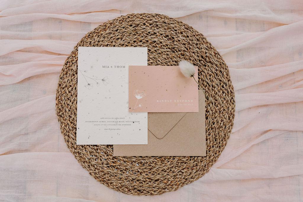 sustainable boho wedding - eco friendly wedding stationery - bohemian wedding stationery - seed wedding stationery