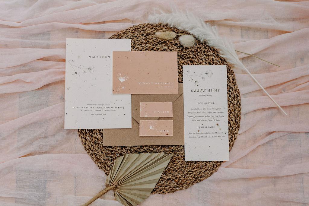 sustainable boho wedding - boho wedding stationery - seed card wedding invitation - eco wedding stationery - unconventional wedding