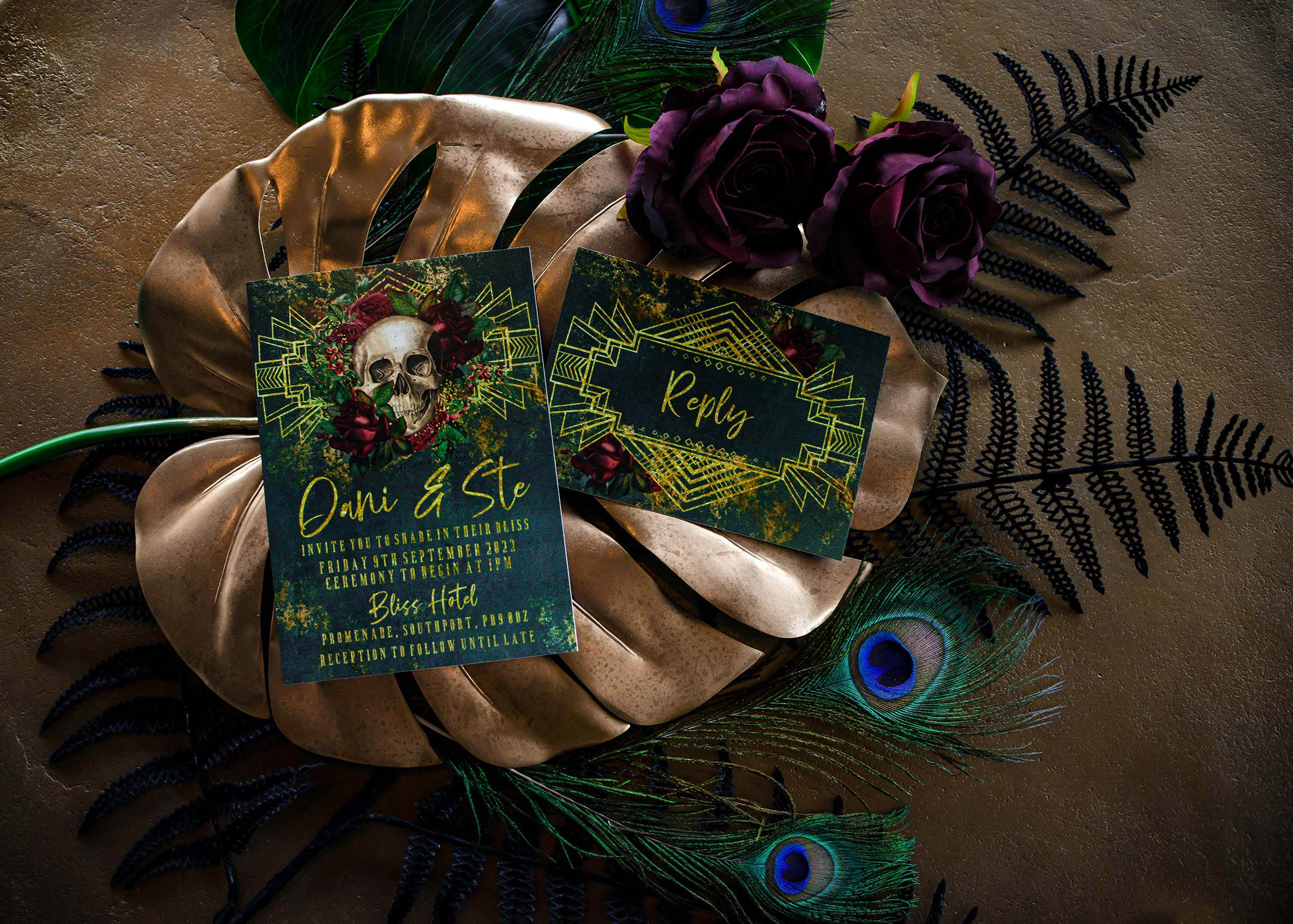 alternative luxe wedding - slytherin wedding - gothic wedding - alternative wedding - alternative wedding stationery - gothic wedding stationery - unique wedding invitations