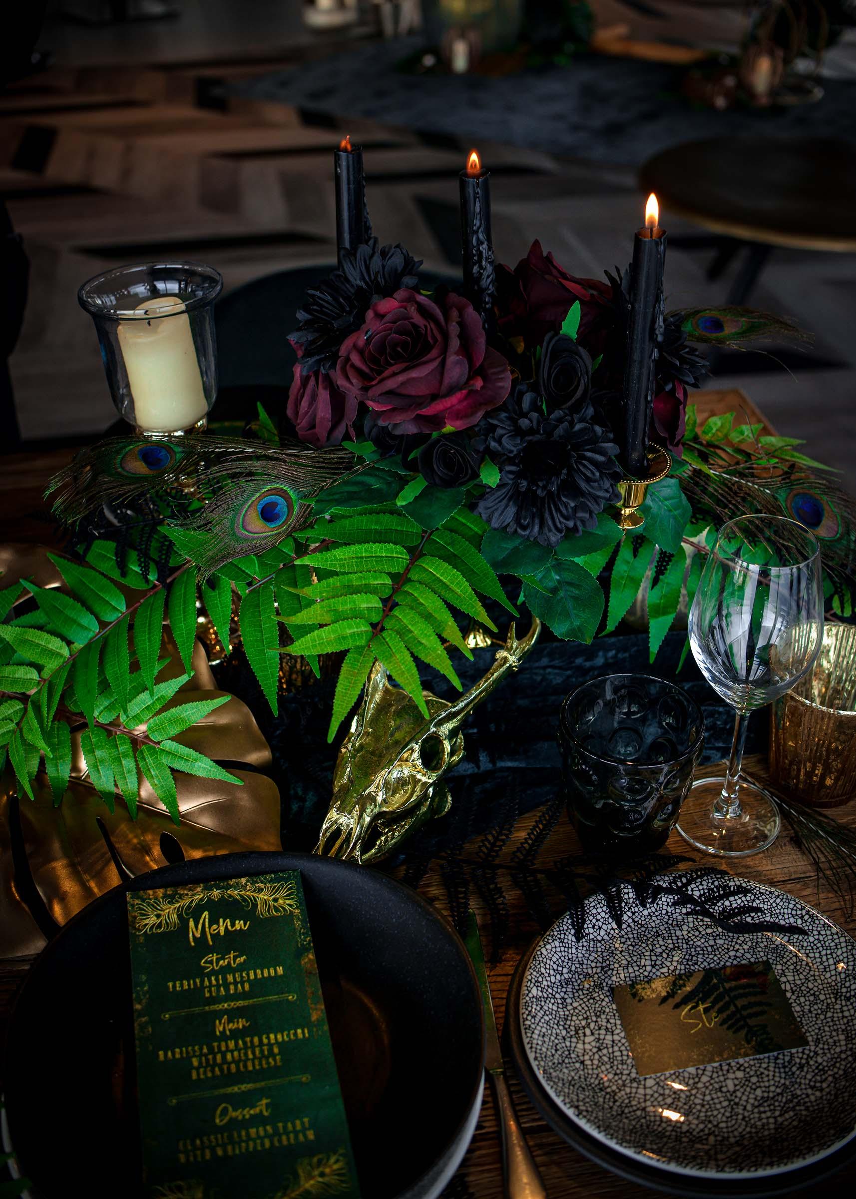 alternative luxe wedding - slytherin wedding - gothic wedding - alternative wedding - eclectic wedding styling