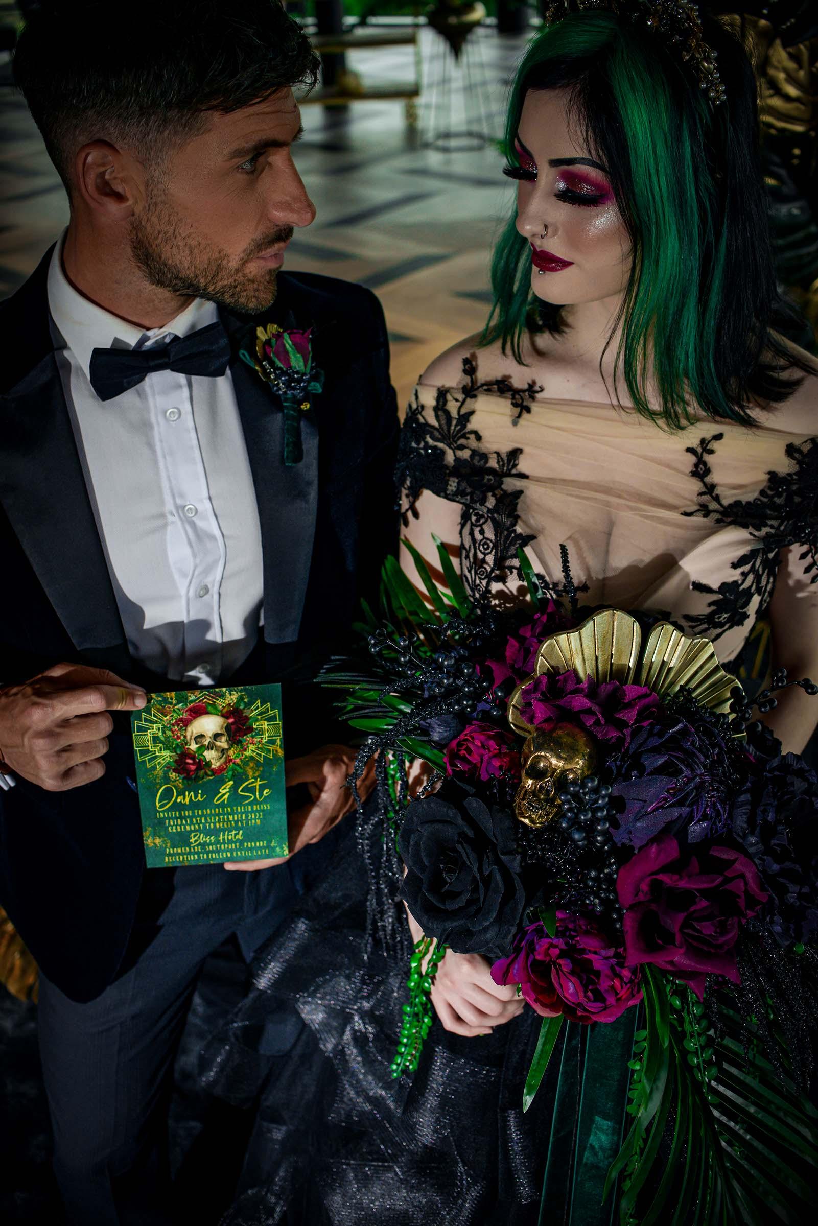 alternative luxe wedding - slytherin wedding - gothic wedding - alternative wedding - gothic wedding flowers - alternative wedding stationery