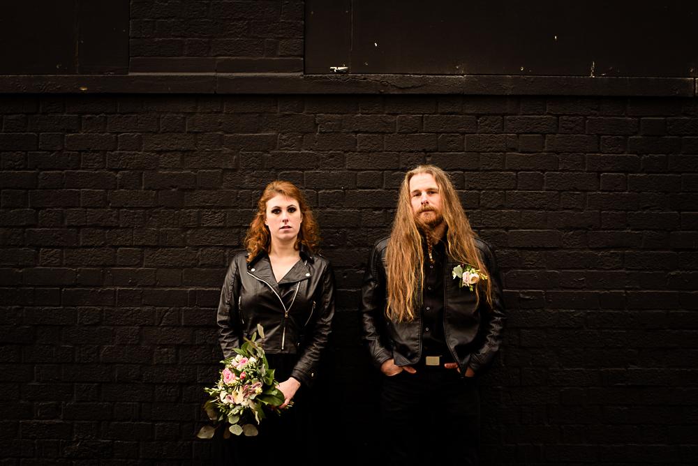 gothic city wedding - alternative wedding - gothic micro wedding - black wedding dress - edgy wedding