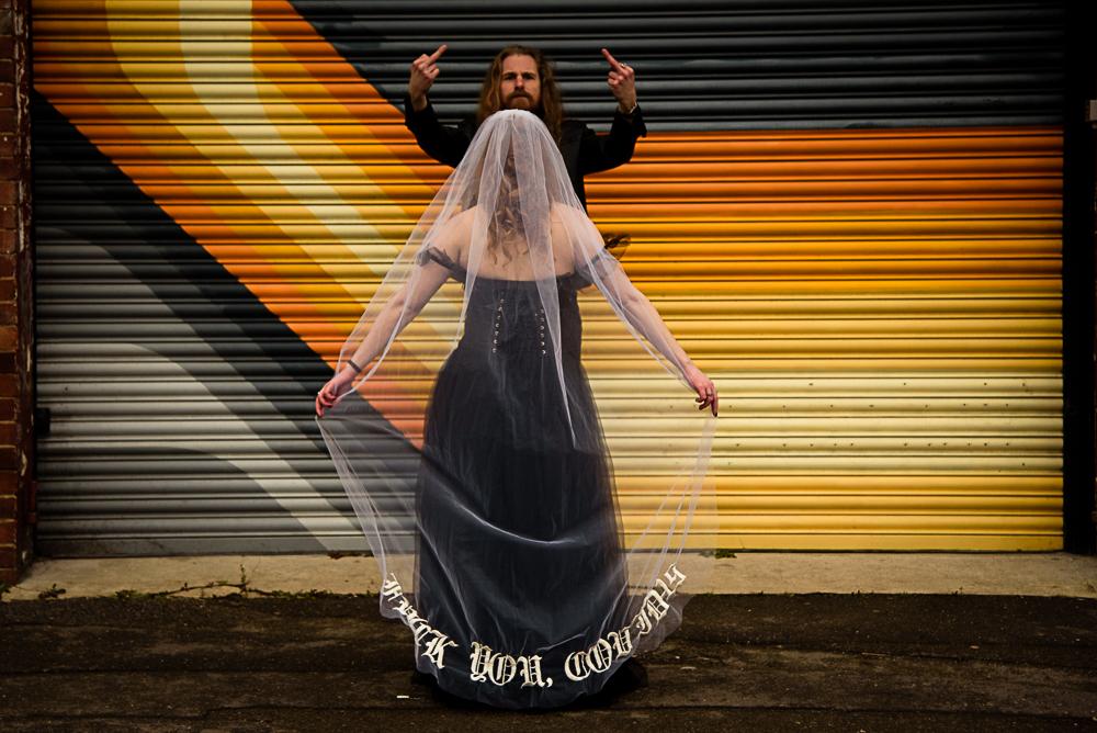 gothic city wedding - alternative wedding - gothic micro wedding - bespoke wedding veil - black wedding veil