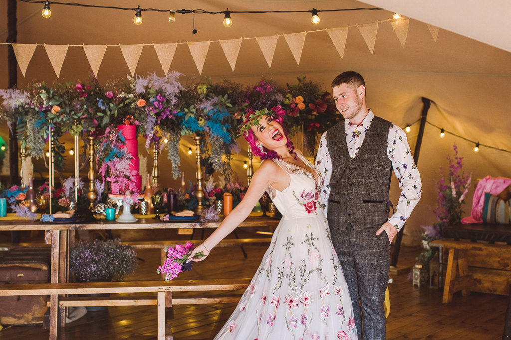fun festival wedding - colourful festival wedding styling - embroidered wedding dress - unique wedding dress - fun wedding