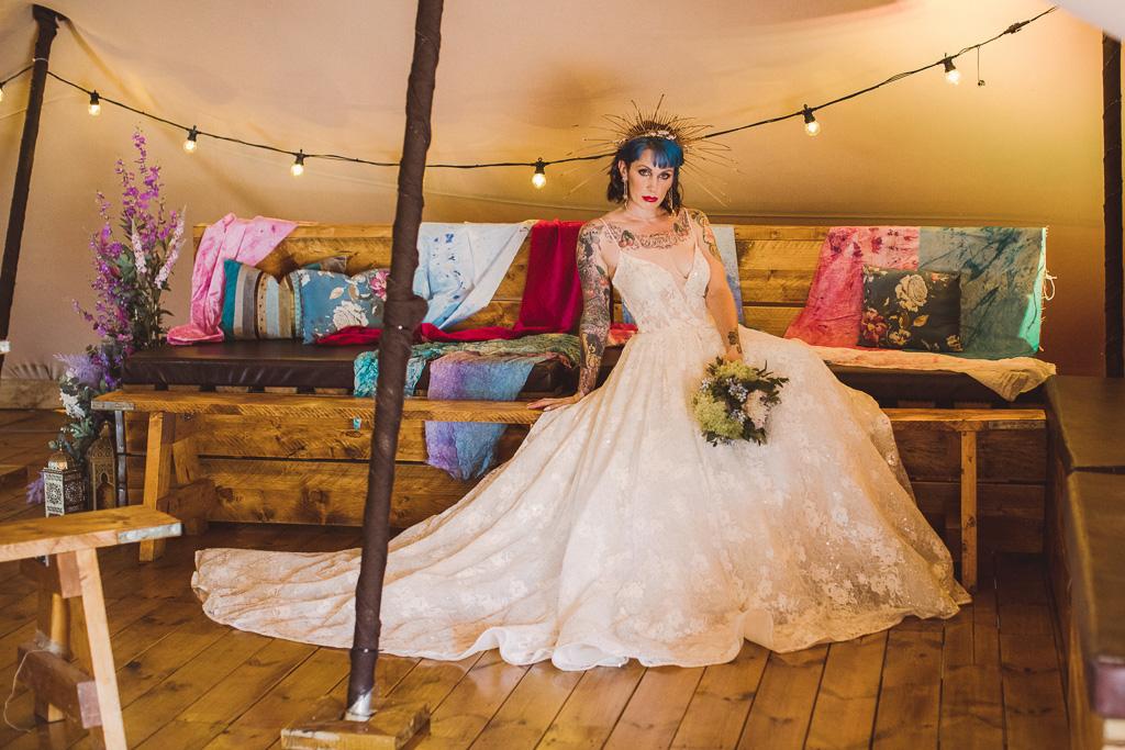 festival wedding - edgy bride - unique bridal look - alternative bridal headdress - bride with blue hair - festival wedding decor