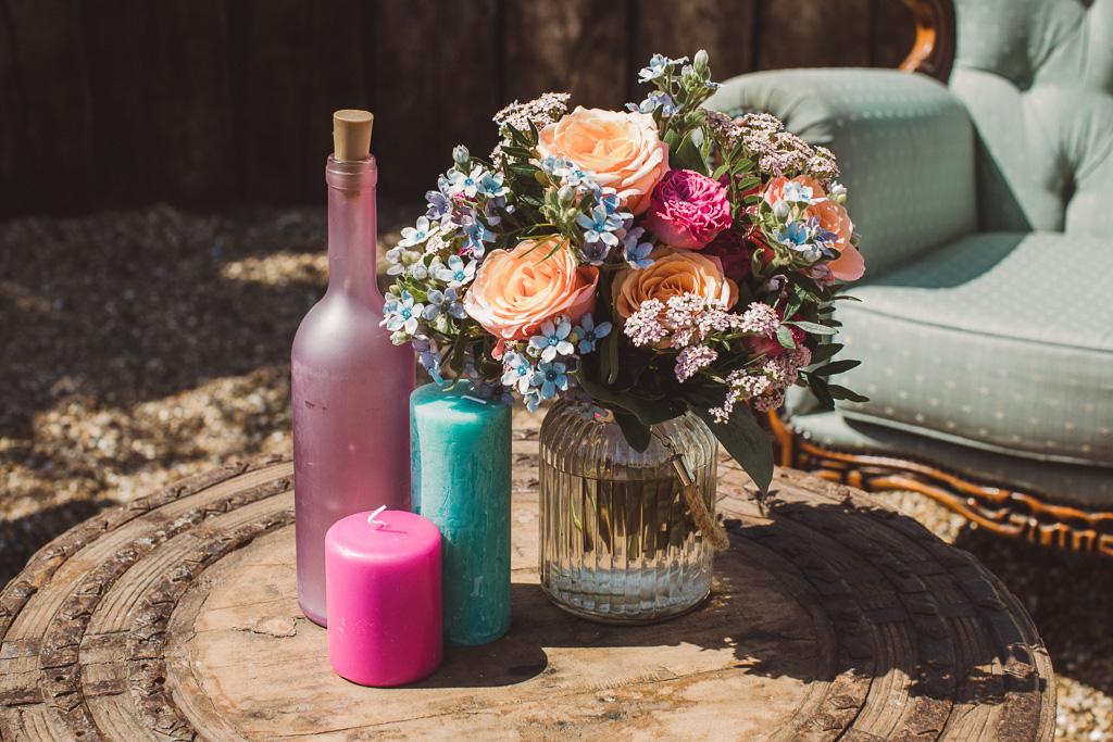 colourful wedding flowers - alternative wedding flowers - festival wedding flowers - unique wedding decor - alternative wedding - unconventional wedding - colourful wedding