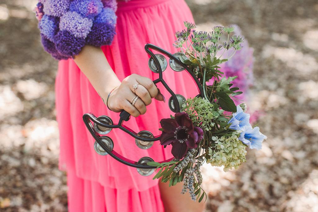 festival wedding - decorated tambourine - festival wedding ideas