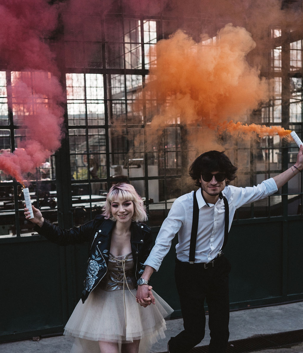 wedding smoke bomb - modern industrial wedding - alternative wedding - unconventional wedding - edgy wedding - rock and roll wedding