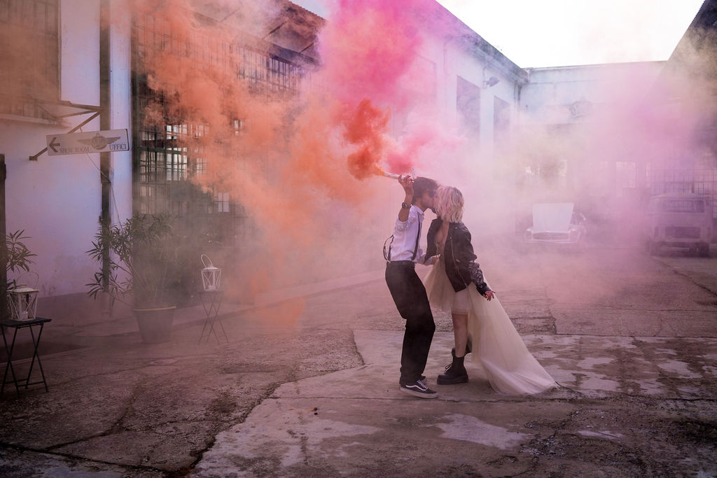 wedding smoke bomb - fun wedding photos - modern industrial wedding - alternative wedding - unconventional wedding - edgy wedding