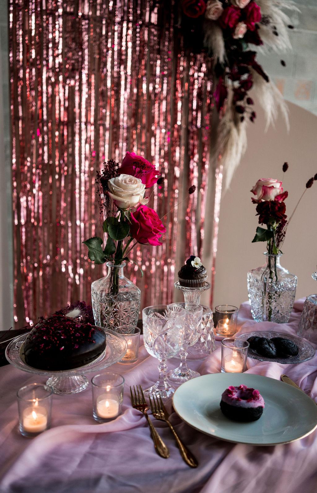 modern industrial wedding - alternative wedding - unconventional wedding - edgy wedding - pink wedding table - modern wedding styling
