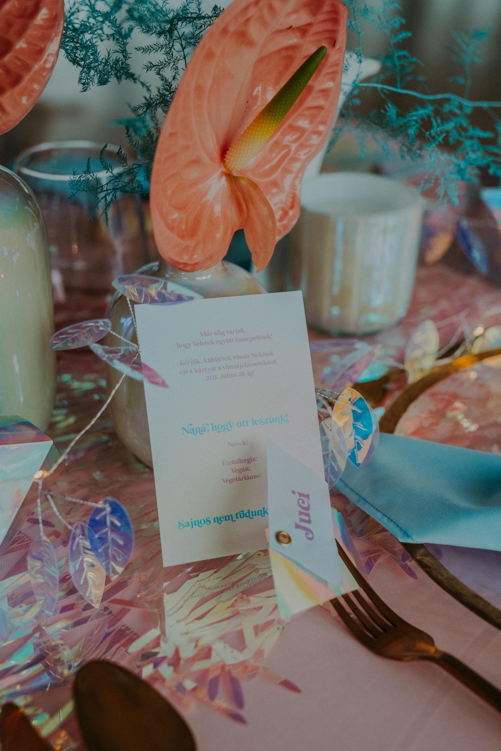 colourful pastel wedding - unconventional wedding - alternative wedding - unique wedding stationery - cute wedding ideas