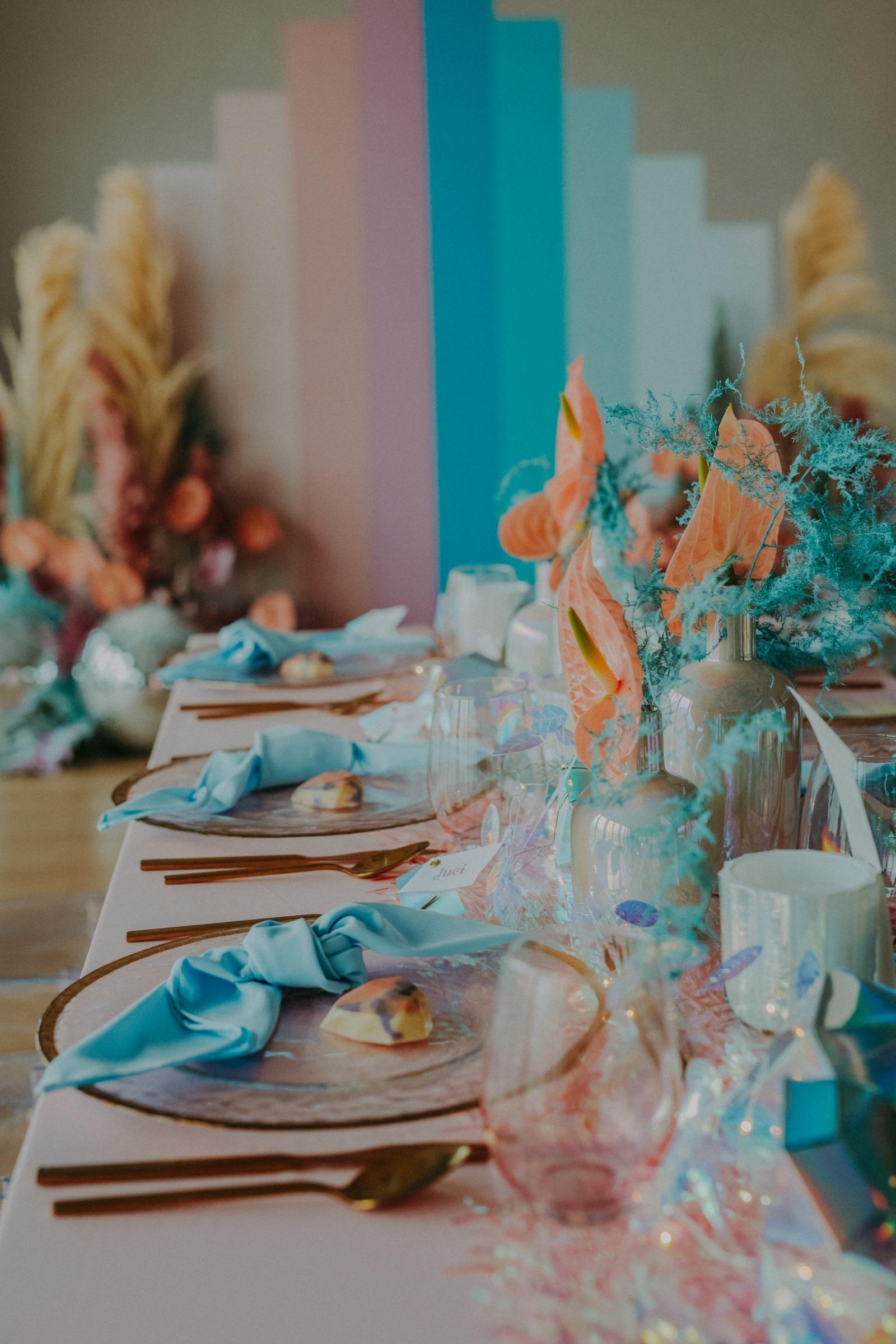 colourful pastel wedding - unconventional wedding - alternative wedding - modern wedding decor - pastel wedding table - eclectic wedding table
