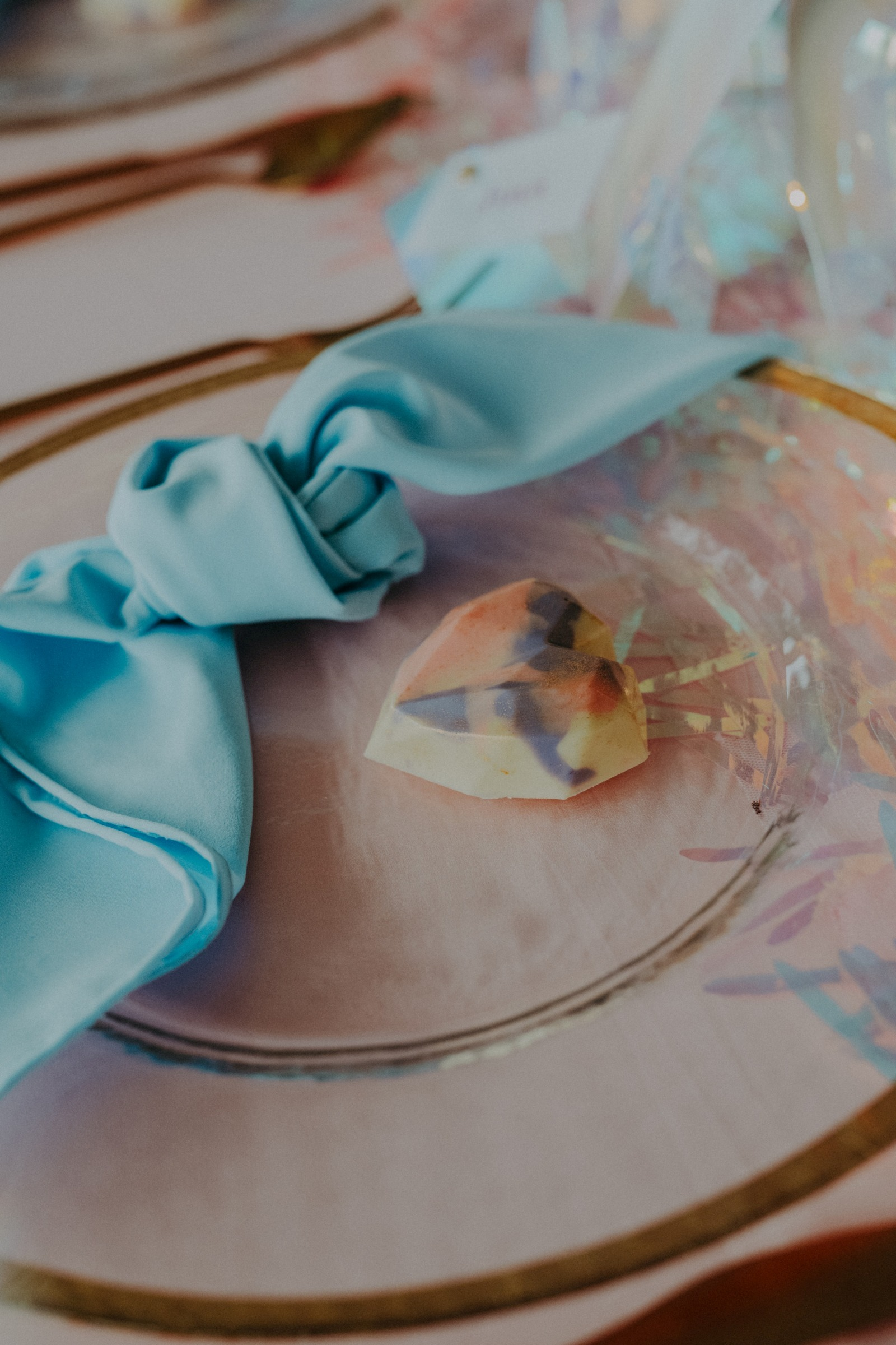 colourful pastel wedding - unconventional wedding - alternative wedding - unique wedding napkins - unique wedding favours