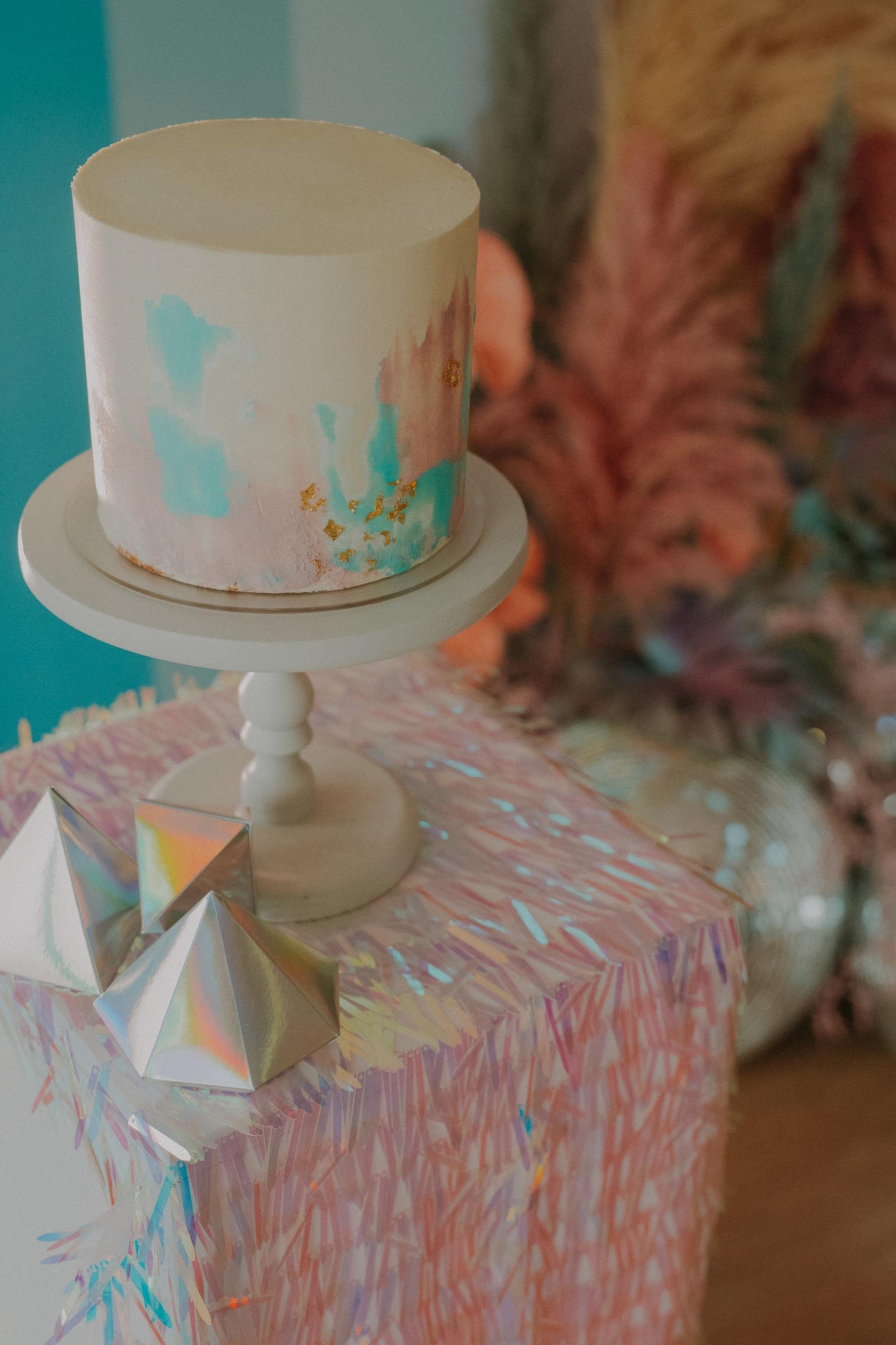 colourful pastel wedding - unconventional wedding - alternative wedding - small wedding cake - micro wedding cake - quirky wedding cake