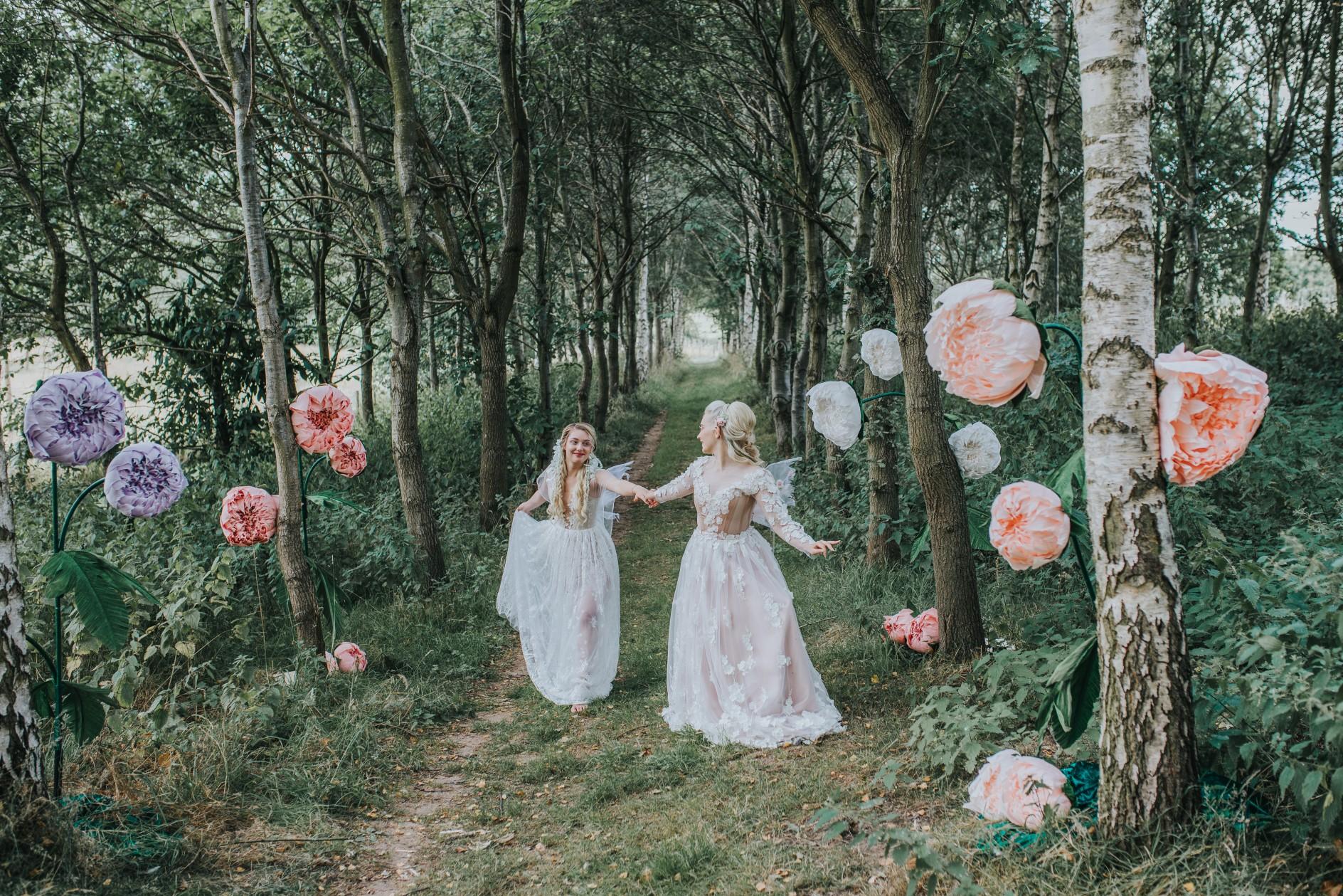 fairy wedding - whimsical wedding - magical wedding - elegant wedding dress - woodland wedding